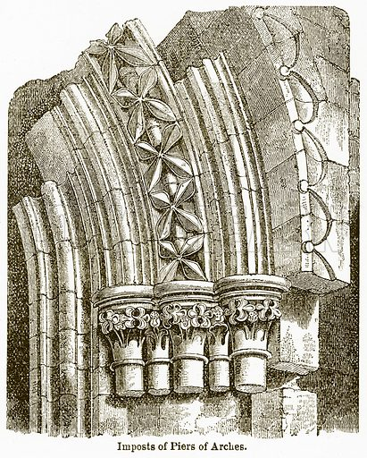 Imposts of Piers of Arches. Illustration from The National Encyclopaedia (William Mackenzie, c 1900).
