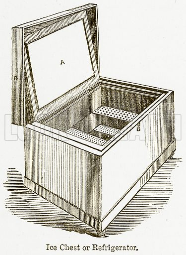 Ice Chest or Refrigerator. Illustration from The National Encyclopaedia (William Mackenzie, c 1900).