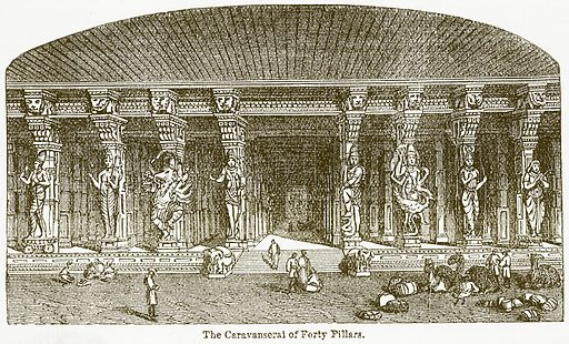 The Caravanserai of Forty Pillars. Illustration from The National Encyclopaedia (William Mackenzie, c 1900).