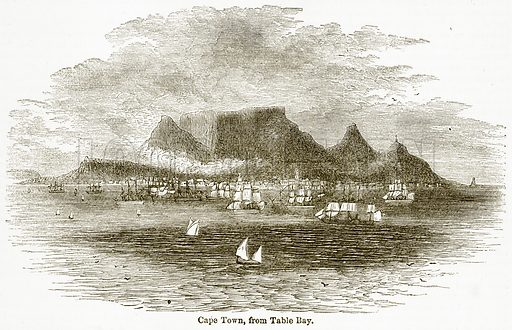 Cape Town, from Table Bay. Illustration from The National Encyclopaedia (William Mackenzie, c 1900).