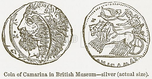 Coin of Camarina in British Museum--Silver (actual size). Illustration from The National Encyclopaedia (William Mackenzie, c 1900).