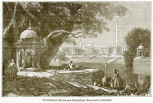 Government House and Ochterlony Monument, Calcutta. Illustration from The National Encyclopaedia (William Mackenzie, c 1900).