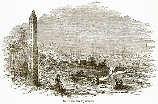 Cairo and the Pyramids. Illustration from The National Encyclopaedia (William Mackenzie, c 1900).