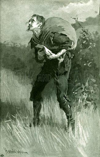Christian walking in the field. Illustration for Pilgrim's Progress by John Bunyan (Religious Tract Society, 1906).