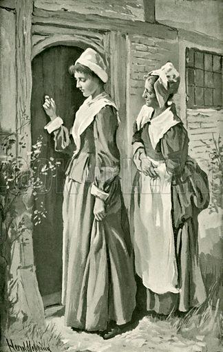 Mercy and Timorous call on Christiana. Illustration for Pilgrim's Progress by John Bunyan (Religious Tract Society, 1906).