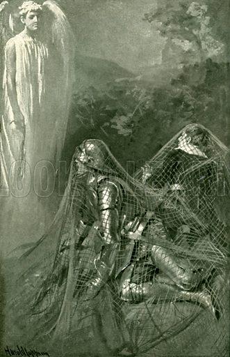 Entangled in the net. Illustration for Pilgrim's Progress by John Bunyan (Religious Tract Society, 1906).
