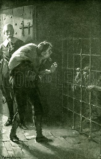 The man in the iron cage. Illustration for Pilgrim's Progress by John Bunyan (Religious Tract Society, 1906).