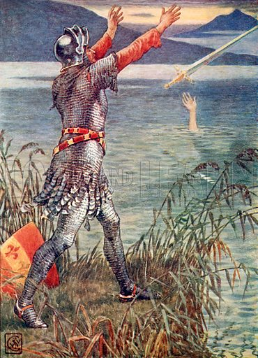 Sir Bedevere casts the sword Excalibur into the lake. Illustration from The Knights of the Round Table (Jack, c 1900).