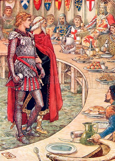 Sir Galahad is brought to the court of King Arthur. Illustration from The Knights of the Round Table (Jack, c 1900).