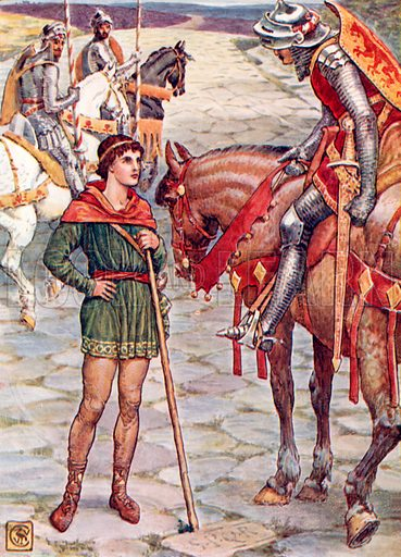 Young Perceval questions Sir Owen. Illustration from The Knights of the Round Table (Jack, c 1900).