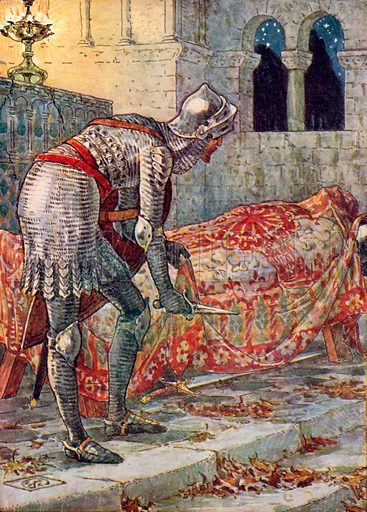 Sir Lancelot in the Chapel Perilous. Illustration from The Knights of the Round Table (Jack, c 1900).