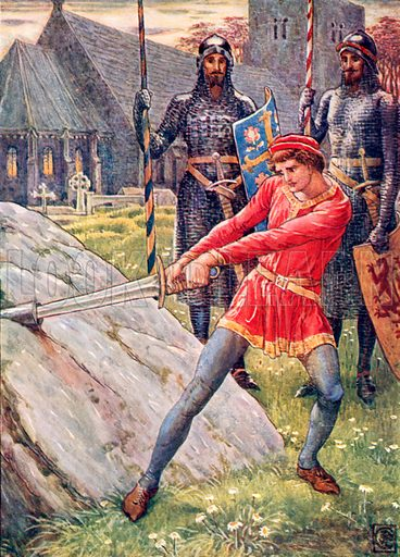 Arthur draws the sword from the stone. Illustration from The Knights of the Round Table (Jack, c 1900).