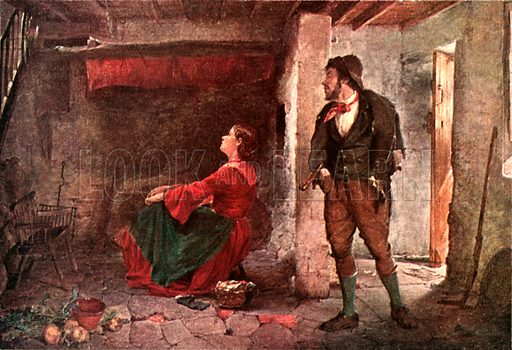 """""""Don't provoke me."""" Illustration from Tales of Irish Life by SC Hall (Foulis, 1909)."""