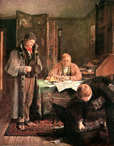 The lease refused. Illustration from Tales of Irish Life by SC Hall (Foulis, 1909).