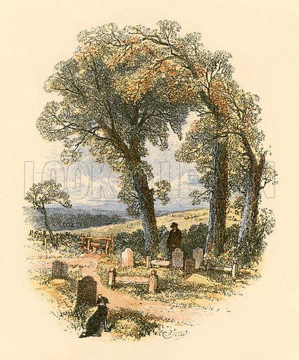 A churchyard scene. Illustration from Sabbath Bells (Joseph Cundall, 1861).