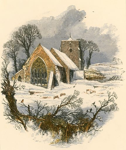 Winter Sabbath walk. Illustration from Sabbath Bells (Joseph Cundall, 1861).