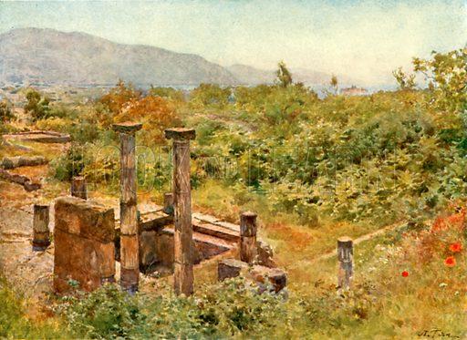 View from Pompeii. Illustration from Pompeii by W M Mackenzie (A&C Black, c 1905).