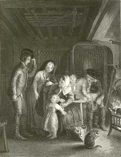 Cottage Courtship. Illustration from The Gallery of Engravings edited by CH Timperley (Fisher, 1846).