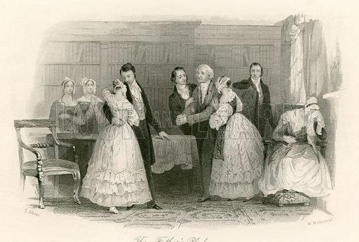 The Father's pledge. Illustration from The Gallery of Engravings edited by C H Timperley (Fisher, 1846).
