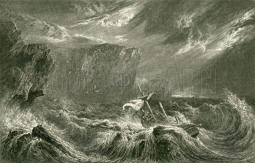 Death at sea. Illustration from The Gallery of Engravings edited by C H Timperley (Fisher, 1846).