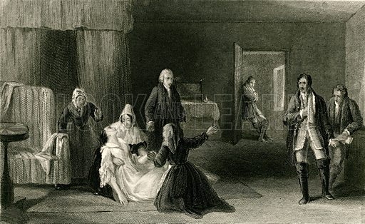 The lady's sorrow. Illustration from The Gallery of Engravings edited by CH Timperley (Fisher, 1846).