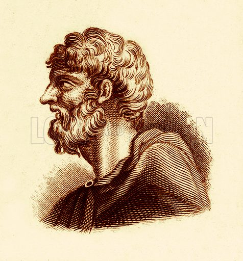 Alcaeus.  Illustration for The Universal Historical Dictionary by George Crabb (Baldwin, 1825).