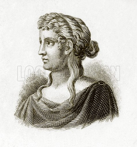 Sappho.  Illustration for The Universal Historical Dictionary by George Crabb (Baldwin, 1825).