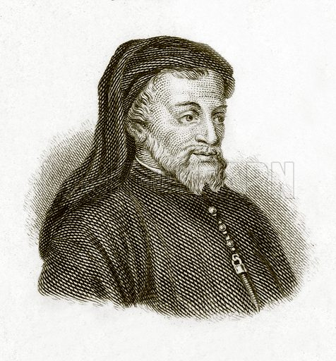 Chaucer.  Illustration for The Universal Historical Dictionary by George Crabb (Baldwin, 1825).