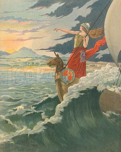 Great Britain - Rule Britannia.  Illustration for Les Chants Nationaux (Martin, c 1900).
