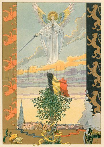 Belgium – National song. Illustration for Les Chants Nationaux (Martin, c 1900).