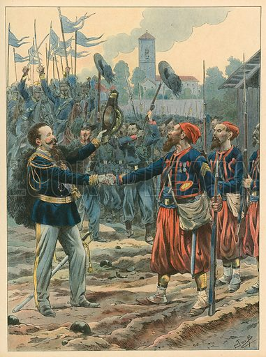 Italy - The Royal march.  Illustration for Les Chants Nationaux (Martin, c 1900).