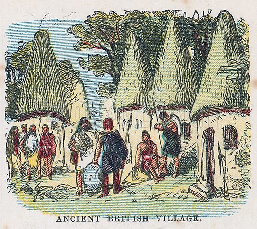 Ancient British village.  Illustration for the weekly magazine Boys of the Empire (Edwin Brett, 1888).