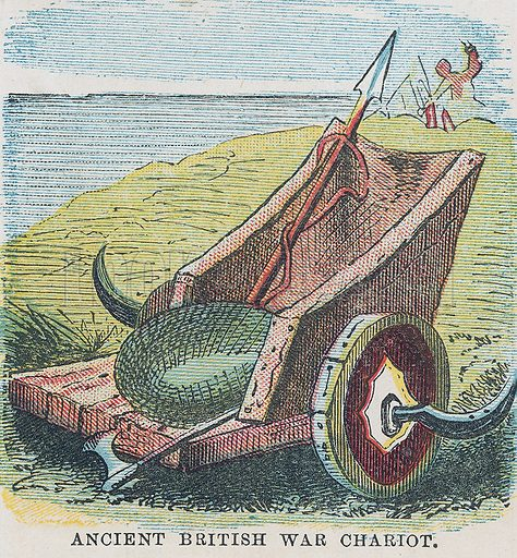 Ancient British war chariot. Illustration for the weekly magazine Boys of the Empire (Edwin Brett, 1888).