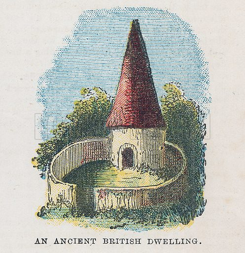 An ancient British dwelling.  Illustration for the weekly magazine Boys of the Empire (Edwin Brett, 1888).