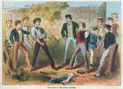 The fight in the school grounds.  Illustration for the weekly magazine Boys of the Empire (Edwin Brett, 1888).