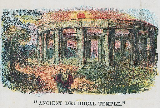 Ancient druidical temple.  Illustration for the weekly magazine Boys of the Empire (Edwin Brett, 1888).