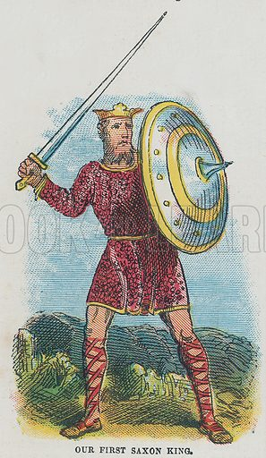 Our first Saxon king.  Illustration for the weekly magazine Boys of the Empire (Edwin Brett, 1888).