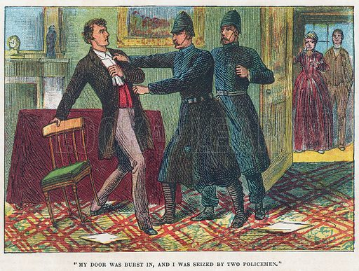 Seized by the police. Illustration for the weekly magazine Boys of the Empire (Edwin Brett, 1888).