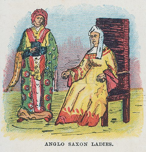 Anglo Saxon ladies. Illustration for the weekly magazine Boys of the Empire (Edwin Brett, 1888).