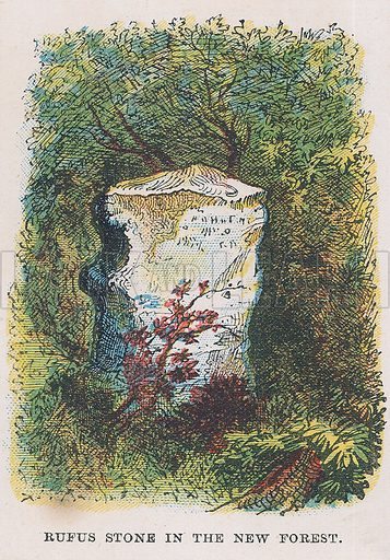 Rufus stone in the New Forest. Illustration for the weekly magazine Boys of the Empire (Edwin Brett, 1888).
