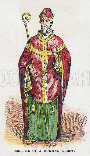 Costume of a Norman Abbot. Illustration for the weekly magazine Boys of the Empire (Edwin Brett, 1888).
