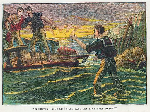 Marooned. Illustration for the weekly magazine Boys of the Empire (Edwin Brett, 1888).