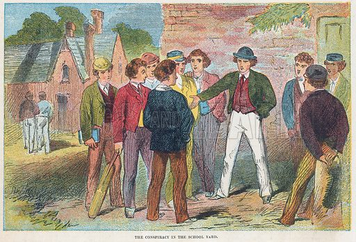 The conspiracy in the school yard.  Illustration for the weekly magazine Boys of the Empire (Edwin Brett, 1888).