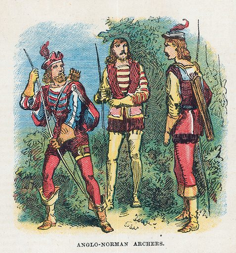 Anglo-Norman archers.  Illustration for the weekly magazine Boys of the Empire (Edwin Brett, 1888).