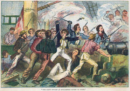 Valiant Englishmen.  Illustration for the weekly magazine Boys of the Empire (Edwin Brett, 1888).