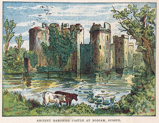 Bodiam Castle, Sussex.  Illustration for the weekly magazine Boys of the Empire (Edwin Brett, 1888).