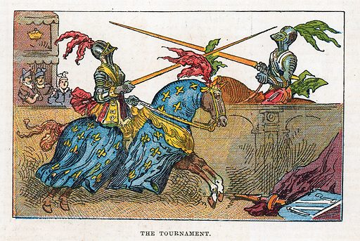 The tournament.  Illustration for the weekly magazine Boys of the Empire (Edwin Brett, 1888).