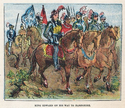 King Edward I on his way to Hampshire.  Illustration for the weekly magazine Boys of the Empire (Edwin Brett, 1888).