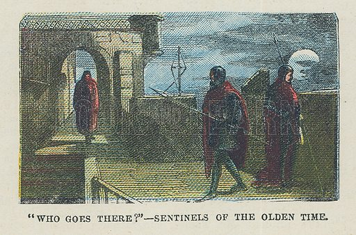 Sentinels in the olden time.  Illustration for the weekly magazine Boys of the Empire (Edwin Brett, 1888).