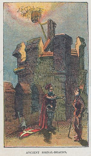 Ancient signal beacon. Illustration for the weekly magazine Boys of the Empire (Edwin Brett, 1888).